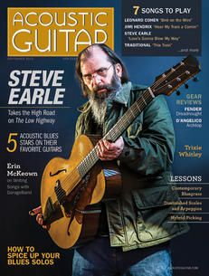 Acoustic Guitar magazine, issue no. 249, featuring Steve Earle on the cover.