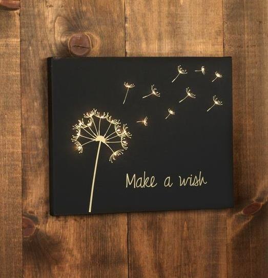 Design Create Inspire Make A Wish Light Up Art Canvas