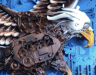 Arte desenvolvida com materiais tecnológicos e reciclados