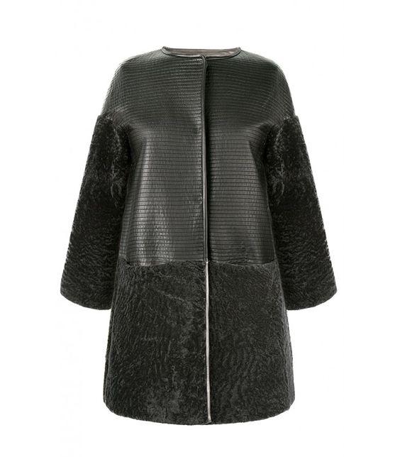 Комбинированная шуба из натуральной кожи и овчины Virtuale Fur Collection 147648000, заказать в интернет магазине в каталоге, цена с фото в Москве