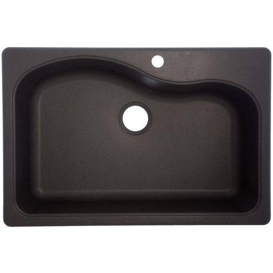 FrankeUSA Dual Mount Composite Granite 33 in. 1-Hole Single Bowl Kitchen Sink in Graphite-SGR3322-1 - The Home Depot