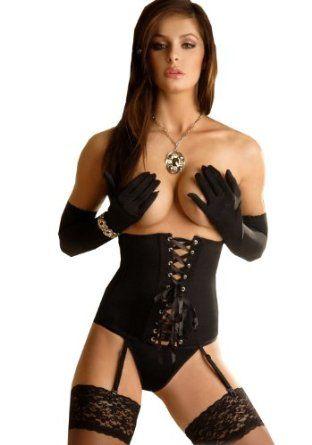 Black waspie underbust corset, thong & gloves