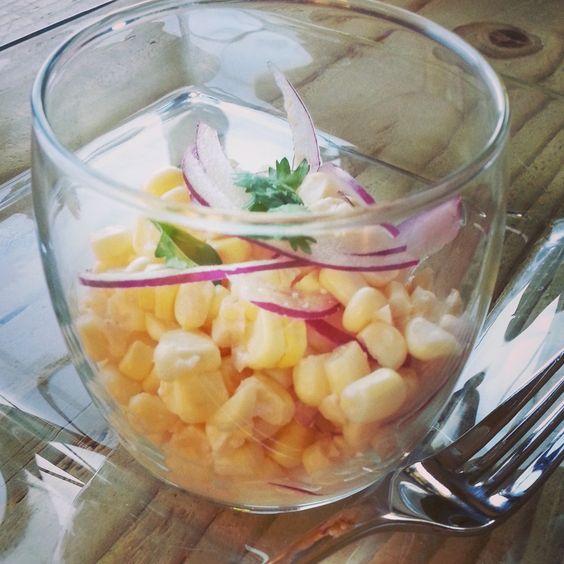 raw fresh corn ceviche with light coconut milk, cilantro, and red ...