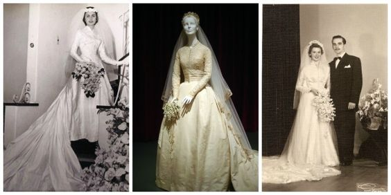 anos50 Anos 50:  Com modelos mais românticos, esse período foi marcado pela utilização de vestidos com golas altas, saias em camadas e cinturas altas.