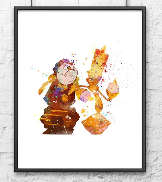 Beauty and the Beast Watercolor Print Belle Lumiere Cogsworth Disney Art Movie Poster Nursery Dancing Poster Kids Room Decor Girl - 551 by gingerkidsart on Etsy https://www.etsy.com/listing/280164370/beauty-and-the-beast-watercolor-print