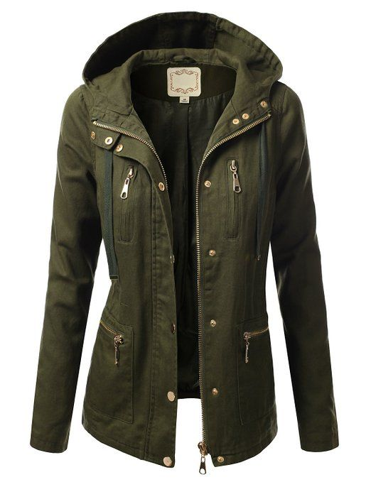 J.TOMSON Womens Trendy Military Cotton Drawstring Jacket XLARGE ...
