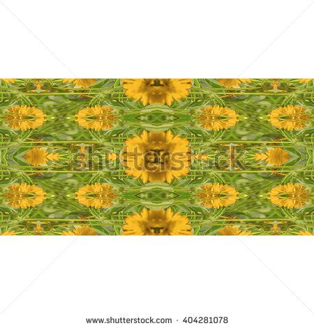 Digital collage technique stylized floral motif decorative geometric seamless pattern mosaic design in vibrant yellow and green tones