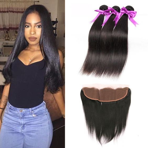 Ear To Ear Lace Frontal Closure With Bundles Brazilian Straight Hair With Closure Human Hair With Frontal Closure 3 Bundles