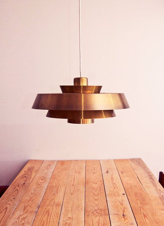 Table made from separate planks. Jo Hammerborg's Nova. Fantastic mid-century danish hanging lamp. Fog and Mørup