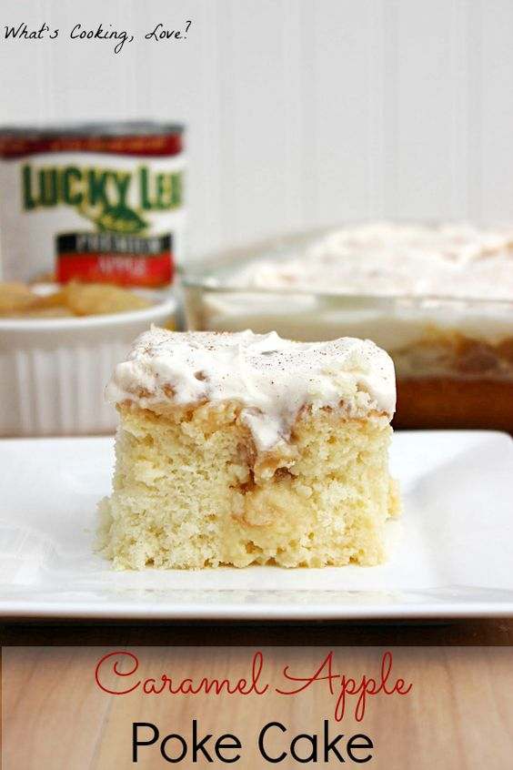 This Caramel Apple Poke Cake is a delicious and moist cake with the flavors of caramel and apple throughout. It tastes just like caramel apple pie!