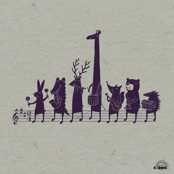 Animals and music illustration by Heng Swee Lim: