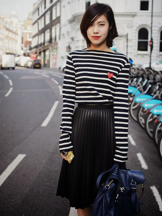 Stripes in street style. Commes Des Garçons at Paris Fashion Week Spring 2015. #PFW: