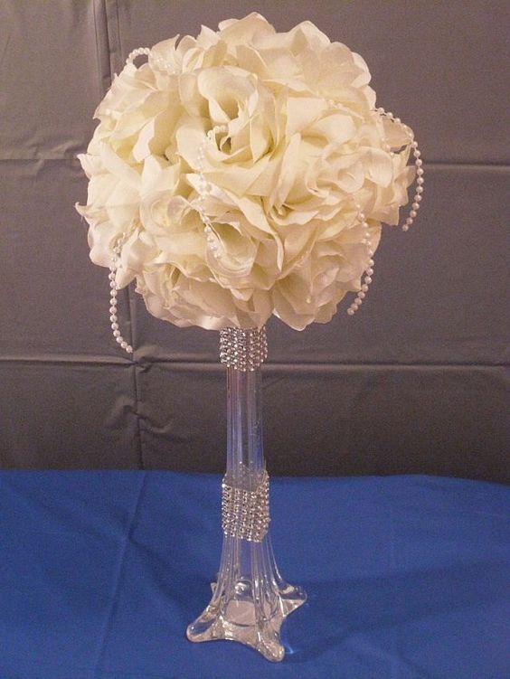 Hurricane vase wedding centerpieces and flower