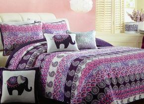 Cynthia Rowley Boho Stripe Purple Twin Quilt with Sham - Twin size bedding for #teengirlsbedding