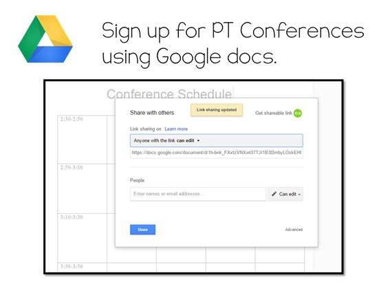 5 Ways To Engage Parents Using Google Drive Google Drive   Conference Sign  In Sheet Template  Conference Sign Up Sheet Template