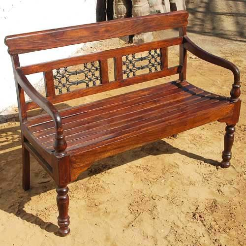 Solid wood iron hand crafted indoor outdoor sofa bench for Beautiful wooden benches