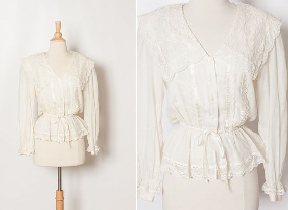 vintage 1970s ivory Gunne Sax peplum blouse with middy collar by StopTheClock on Etsy
