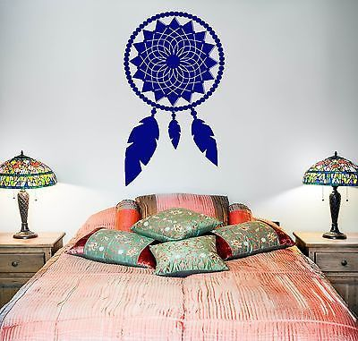 Wall Vinyl Dream Catcher Dreamcatcher Talisman Feather For Bedroom (z2806)