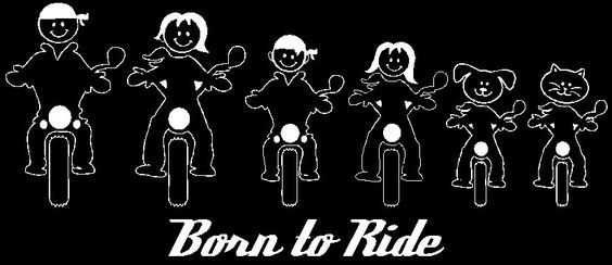 Motorcycle Family  window decal Born to ride