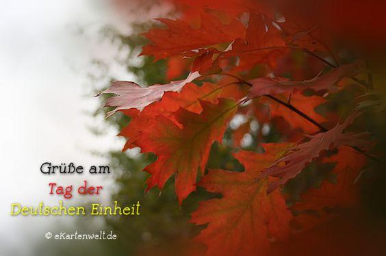 Grüße am Tag der Deutschen Einheit. Bunt gefärbtes Laub im Herbst