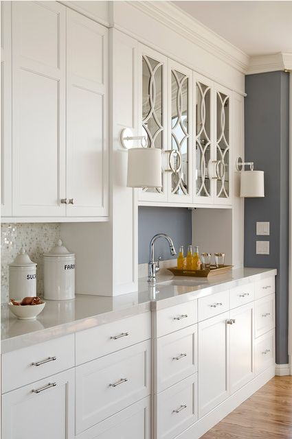 kitchen cabinets with glass uppers butler pantry marble mosaic and white cabinets on 8175