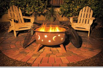 Sojoe Star & Moon Fire Pit is our best selling outdoor fire pit!  People love the stars, they love the moon…they love the Star & Moon Fire pit!  Made ini the USA by Sojoe, we are proud to have offers this long lasting, campground approved fire pit with all accessories including the cover at $249. with Free Ground Shipping Order yours today!  1-888-446-7227