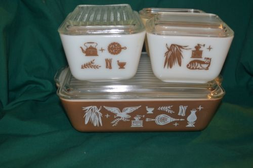 "1950""s Vintage Pyrex Americana Refrigerator Storage Jar Set Good Condition   eBay"