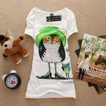 HOT 2014 Mulheres manga curta de Moda de Nova Boa Qualidade T Tops shirt da coruja de algodão, 1158