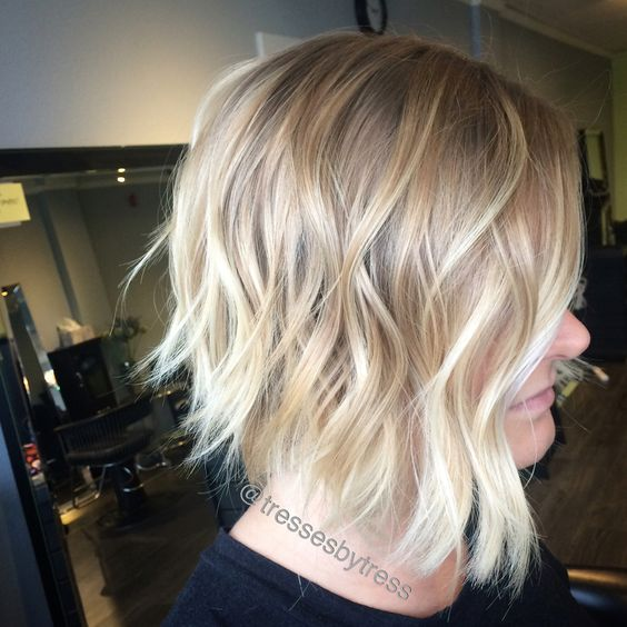 Platinum baby blonde ombre balayage on a short inverted bob