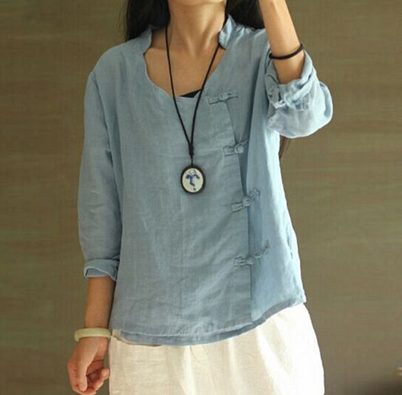 v-neck long sleeve Retro side handmade chinese buttons candy colored shirt linen blouse female