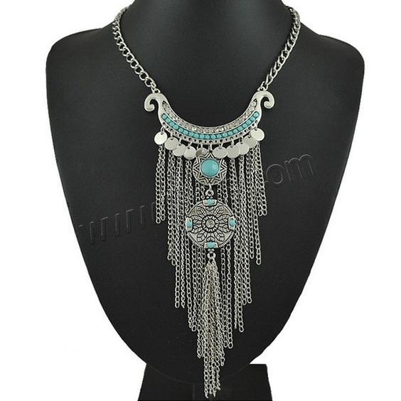 Fashion Fringe Necklace, Zinc Alloy, with Resin, with 2Inch extender chain, antique silver color plated