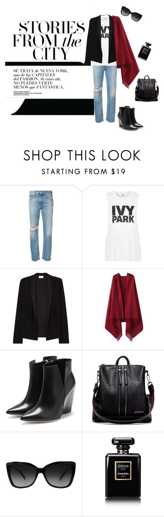 """Denim Chic"" by lifestylestories ❤ liked on Polyvore featuring R13, Topshop, American Vintage, Chicnova Fashion, Rupert Sanderson, Ray-Ban and Chanel"