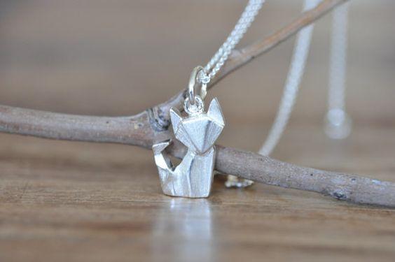 Origami Fox Necklace in Sterling Silver 925 Gold par JamberJewels