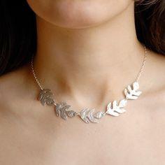 Silver leaf necklace, Unique necklace, Greek necklace, Silver Choker necklace, Grecian Goddess necklace, designer jewelry. $42,00, via Etsy.
