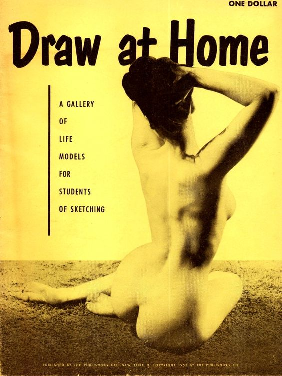 """Bettie Page - Cover of model studies June King magazine """"Draw at Home"""", 1952."""