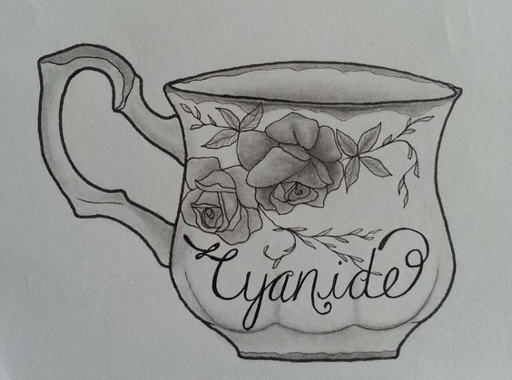 """And a cute little cup of cyanide....""  Tattoo style drawing inspired by the Biffy Clyro song ""Black Chandelier"" from the Opposite album.  Design is a teacup with roses and leaves on it and cyanide written in italics / calligraphy  Completed with a mechanical pencil, Faber Castell fine liner and Sakura micron pen 005.  art / artist / sketch"