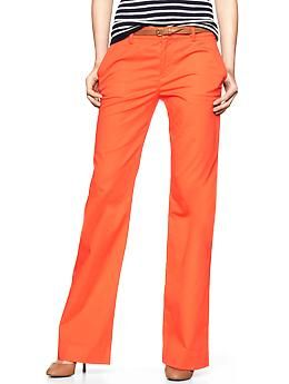 Perfect Khaki Pants in lava orange.  Such a great color for fall!