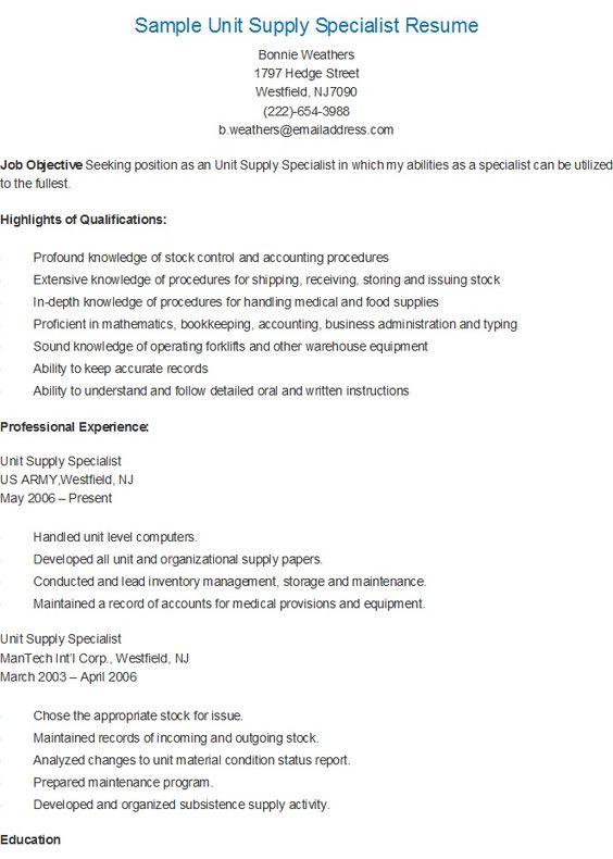 sample unit supply specialist resume resame pinterest