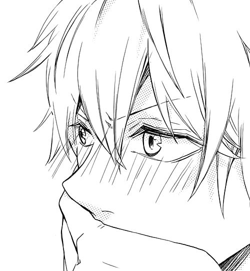 Image result for anime  boy black and white blush