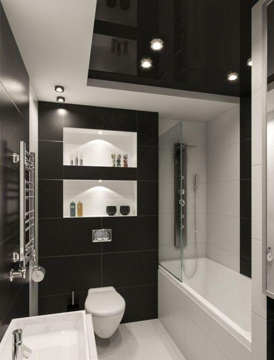 kleines-badezimmer-fliesen-ideen-schwarz-weiss-kombination-matt ...