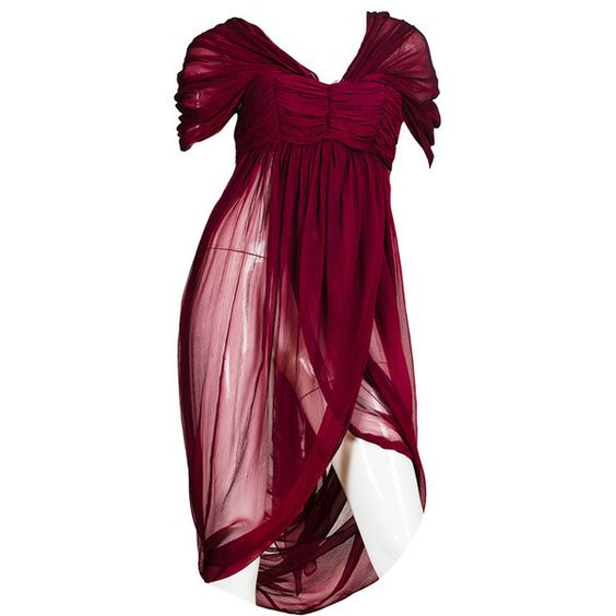 Preowned Alexander Mcqueen Ruby Red Chiffon Draped Blouse (€3.230) ❤ liked on Polyvore featuring dresses, tops, short dresses, red, victorian dress, purple chiffon dress, mini dress, chiffon mini dress and chiffon dress