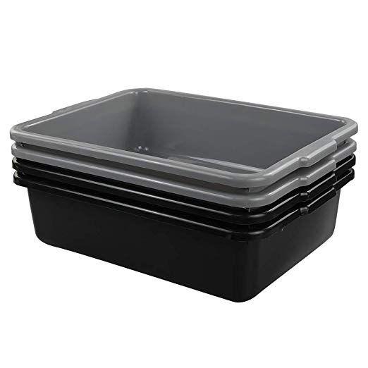 Lesbin 13 Liter Plastic Commercial Tote Box Bus Tubs Bus Box 4 Pack Bus Tubs Tub Packing