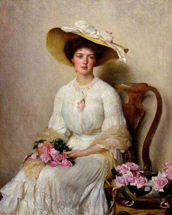1903 John Henry Frederick Bacon - Young Woman with Roses: