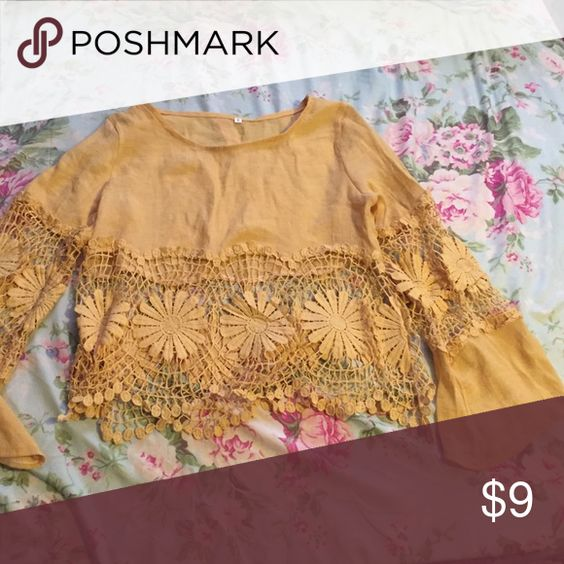 Yellow floral hippie shirt super cute flare shirt it was really bad constructed but still looks really cute! never wore it out before Tops Tunics