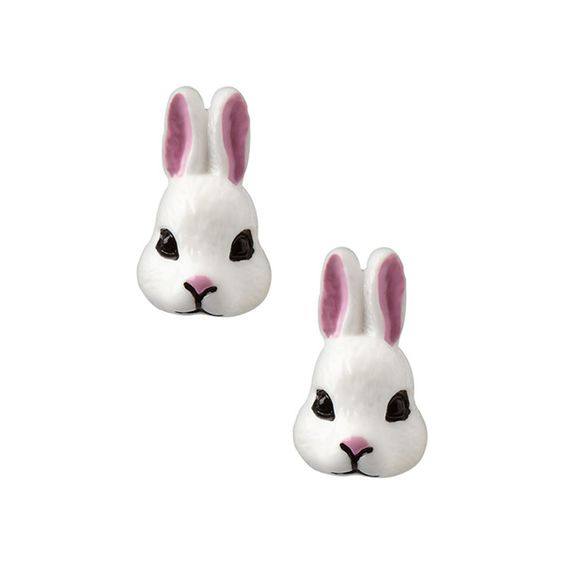 Bunny Clip-on Earrings (20 AUD) ❤ liked on Polyvore featuring jewelry, earrings, clip earrings, rabbit jewelry, bunny jewelry, clip back earrings and bunny rabbit jewelry