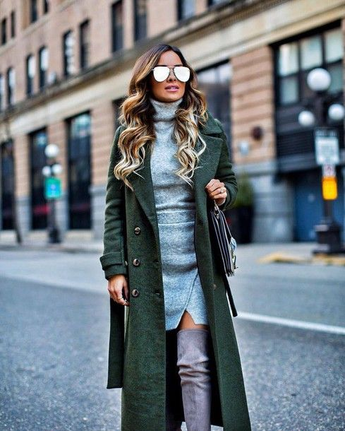 Coat: tumblr green sunglasses mirrored sunglasses long top grey top turtleneck skirt mini skirt wrap: