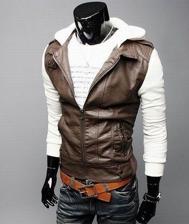 Motorcycle Jackets For Men Short sleeve knit hooded men washed ...