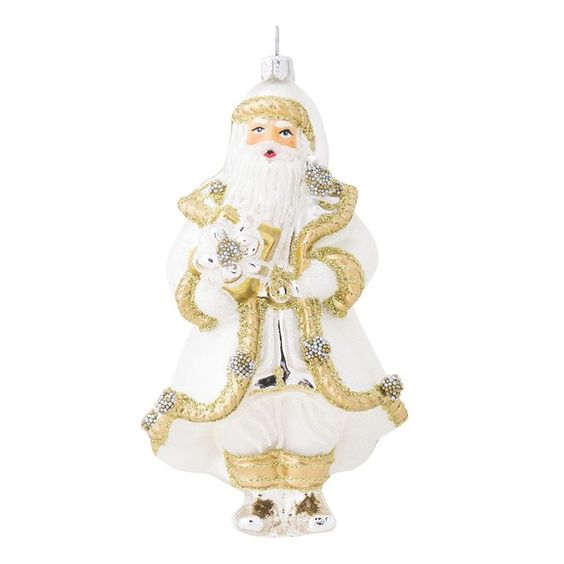 Juliska Berry Thread Gold Silver Santa Glass Ornament Orn 021 2 75 W 5 25 H Resplendent In Gold Silver And White Julis Ornaments Glass Ornaments Juliska