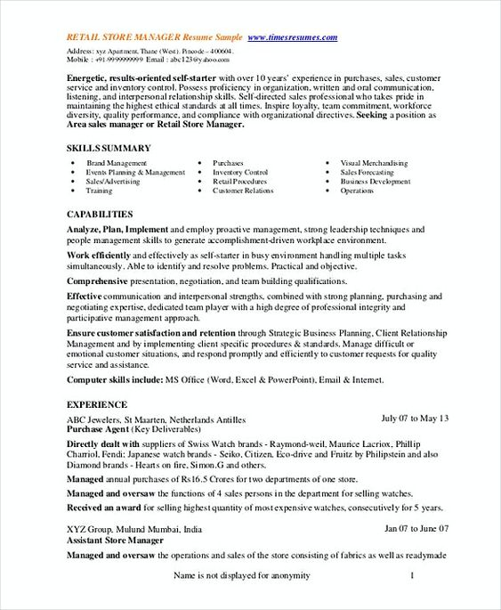 Retail Store Manager Resume 1 , Assistant Store Manager Resume - store manager resume sample