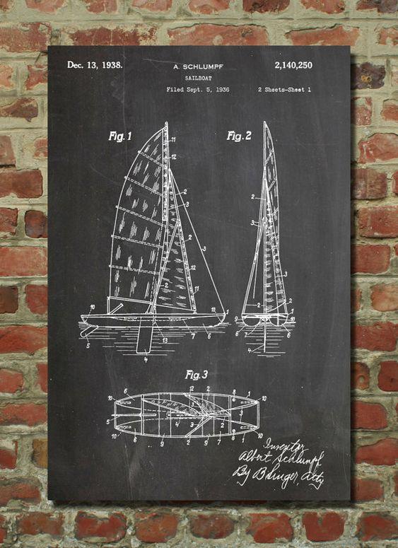 Sailboat Patent Print Poster